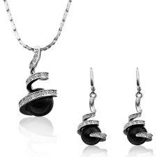 Бижута ЧЕРНА ПЕРЛА! Колие и обеци от Zerga Jewelry, 18KGFNL S07297-А