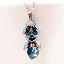 Колие с кристали Swarovski® ROMANCE HEART Bermuda Blue BBL 10 мм, Син цвят, Код PR N098