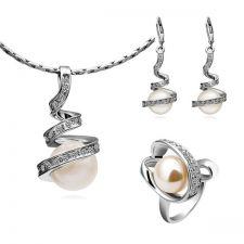 Бижута НЕЖНА ПЕРЛА! Колие, обеци и пръстен от Zerga Collection - бяло златно покритие, Код 18KG S01600