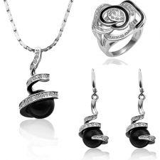 Бижута ЧЕРНА ПЕРЛА! Колие, обеци и пръстен Zerga Collection, 18KG S38297-А