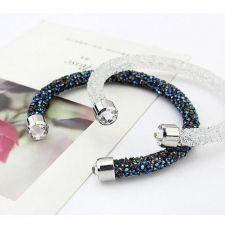 Гривна с кристали Swarovski® CRYSTAL ROCK Metallic Blue, METBL - Син цвят, Код PR B460