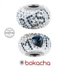 Гривна БЕЗЦЕННА ЛЮБОВ с талисмани SWAROVSKI® Pave Beads, Montana- Син цвят, неръждаема стомана, Код PR B651