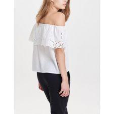 Дамска блуза ONLY английска дантела с голи рамене, Размер S,  Код BL0061