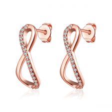 Обеци БЕЗКРАЙНОСТ с Австрийски кристали и 18К Розово Злато, Zerga Brand, 18KG E13236-B