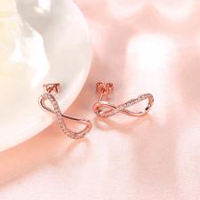 Обеци БЕЗКРАЙНОСТ с Австрийски кристали и 18К Розово Злато, Zerga Brand, 18KGFNO E13236-B