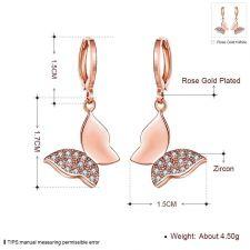 Обеци КРИСТАЛНА ПЕПЕРУДА с розово златно покритие, Zerga Brand, Код 18KG KZCE03631-B