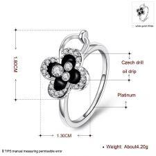 Пръстен АЛИКАНТЕ с Черен Емайл 18К бяло златно покритие - Zerga Brand, Код 18KG R73231-C