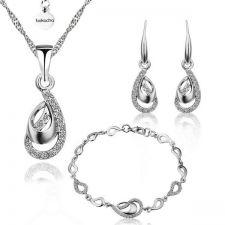 Комплект СРЕБЪРНА СЪЛЗА, колие, обеци и гривна - Zerga Jewelry 18KG S28297