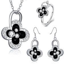 Бижута АЛИКАНТЕ- Пръстен, колие и обеци- Zerga Jewelry, 18К бяло златно поктритие Код 18KG S81716-C-3
