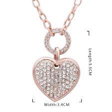 Колие Моето Голямо Сърце с Австрийски Кристали и 18К Розово Злато, Zerga Jewelry, Код 18KG NM05176