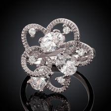 Пръстен ШЕЙЛА, Австрийски кристали, 18К Бяло Златно Покритие, Zerga Collection, 18KG R01314-C