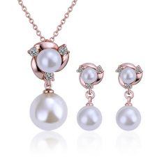 Комплект бижута ПЕРЛЕН БЛЯСЪК, Zerga Jewelry - розово златно покритие, 18KG S15872