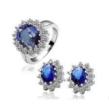 Комплект бижута КЕЙТ - Zerga Jewelry. Обици и пръстен със син кристал. Код 18KG S08498