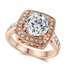 Пръстен ПЕРФЕКТА с кристален цирконий и 18К Розово Злато, Колекция Zerga Brand ZG R453