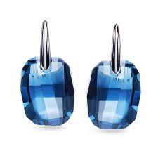 Обеци с кристали Swarovski® GRAPHIC 19мм Denim Blue, Син цвят, Код PR E492