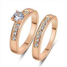 ДВОЕН пръстен с кристали и Розово златно покритие, колекция Zerga, Код ZG R805B