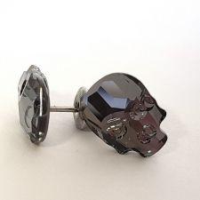 Обеци с кристали Swarovski® SKULL Silver Night** AB - Черен, Код PR E538