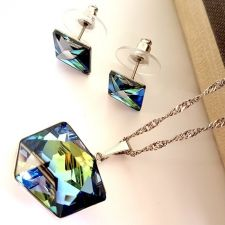 Бижута  с кристали SwarovskiI® TILTED DICE Sahara**, Синьо-Зелен цвят, Колие и обеци на винт,  Код PR S545