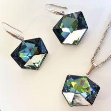 Бижута  с кристали Swarovski® TILTED DICE Sahara**, Синьо-Зелен цвят, Колие с висящи обеци,  Код PR S544