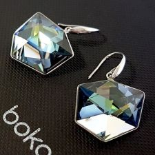 Висящи обеци с кристали Swarovski® TILTED DICE Sahara**, Синьо-Зелен цвят, Код PR E544