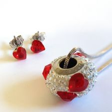 Обеци с кристали Swarovski® МОЯ ЛЮБОВ Siam AB, Червен цвят, Код PR E529
