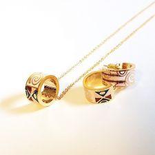 Бижута ДЕМЕТРА, Колие и Обеци с Многоцветен емайл и жълто злато, Код UB S403
