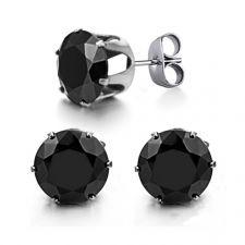 Обици от стомана ОЛИМП с черен кристален циркон, колекция BokaSTEEL, 316L E003A