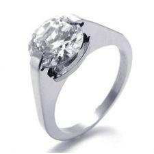 Пръстен КЛАСИК, стомана с инкрустиран цирконий. Годежен пръстен! 316L R001