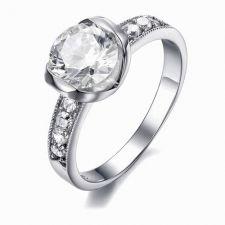 Пръстен БЛЯСЪК от стомана с кристален цирконий. Годежен пръстен! 316L R007