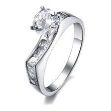 Пръстен ЕЛЕГАНС-А, стомана с инкрустирани циркони. Годежен пръстен! Код 316L R008-A