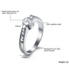 Пръстен ЛЮБОВ от стомана с кристален цирконий. Годежен пръстен! 316L R010