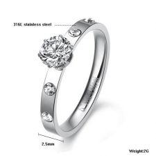 Пръстен ОБИЧАМ ТЕ от стомана с кристален цирконий. Годежен пръстен! 316L R012