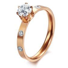 Пръстен ОБИЧАМ ТЕ в розово злато, от стомана с кристален цирконий. Годежен пръстен! 316L R013