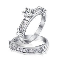 Пръстен от 2 части КОПНЕЖ, стомана с кристален цирконий. Годежен пръстен, Код 316L R016