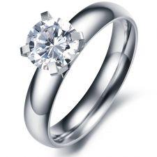 Пръстен  ВЕЧНО ТВОЯ от стомана с кристален цирконий. Годежен пръстен! 316L R017