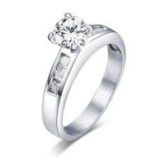 Пръстен НАСТРОЕНИЕ-А, стомана с инкрустирани циркони. Годежен пръстен! Код 316L R046-A