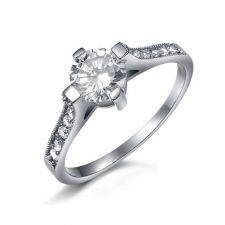 Пръстен ОБИЧ, стомана с инкрустирани циркони. Годежен пръстен, Код 316L R049