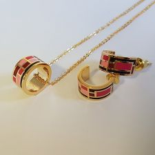 Бижута РИЦ, Колие и Обеци с емайл в розов цвят, Код UBFNO S398