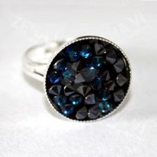 Пръстен с кристали Swarovski® CRYSTAL ROCK, Bermuda Blue BBL - Син, Код PR R440A