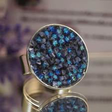 Пръстен с кристали Swarovski® CRYSTAL ROCK, Bermuda Blue BBL - Син, Код PR R440B