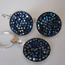 Бижута с кристали Swarovski® CRYSTAL ROCK Bermuda Blue BBL - Син, Колие и Обеци, Код PR S440B