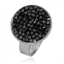 Пръстен с кристали Swarovski® CRYSTAL ROCK, Silver Night** AB - Черен, Код PR R441A