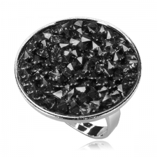Пръстен с кристали Swarovski® CRYSTAL ROCK, Silver Night** AB - Черен, Код PR R441B