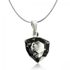 Колие с кристали Swarovski® TRILLIANT 12мм Silver Night** AB - Черен, Код PR N450