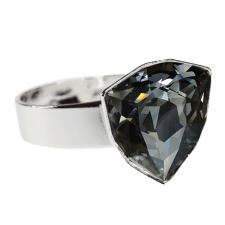 Пръстен с кристали Swarovski® TRILLIANT 12мм Silver Night** AB - Черен, Код PR R450