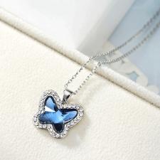 Колие с кристали SWAROVSKI® BUTTERFLY BLUE, Zerga Brand, Код ZG N458