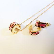 Бижута РИЦ, Колие и Обеци с емайл в розов цвят, Код UB S398
