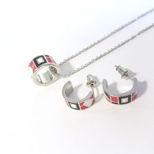 Бижута ТЕЯ, Колие и Обеци с емайл в червено и черно, Код UB S405