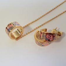 Бижута РОЛИ, Колие и Обеци с Многоцветен емайл и жълто злато, Код UB S399