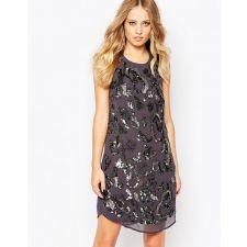 Официална мини рокля YAS с бляскави кристали в сиво-син цвят, Размер L-XL, Код DD0160